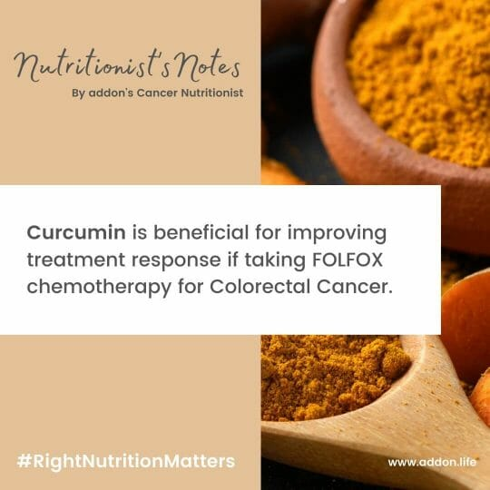 Curcumin and colorectal cancer, curcumin supplements for colorectal cancer, curucmin with FOLFOX chemotherapy, curcumin with chemotherapy,  curcumin supplements for cancer, benefits of Turmeric in cancer, benefits of curcumin in cancer, Turmeric