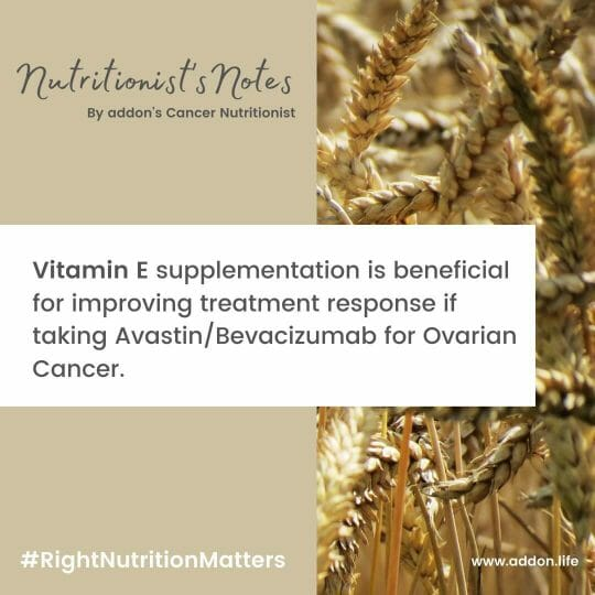Vitamin E supplements, Vitamin E supplements and ovarian cancer, Vitamin E supplements for Cancer, Vitamin E with Avastin, Vitamin E with Bevacizumab, vitamins for ovarian cancer, Vitamin E benefits in cancer